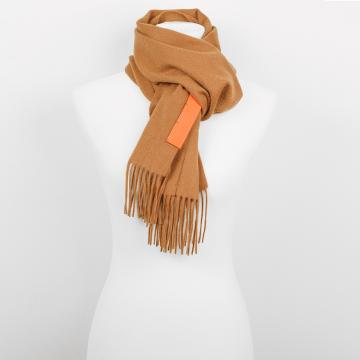 Camel Cashmere Scarf with Leather Label