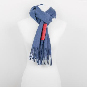 Blue Cashmere Scarf with Leather Label
