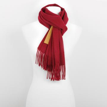 Red Cashmere Scarf with Leather Label