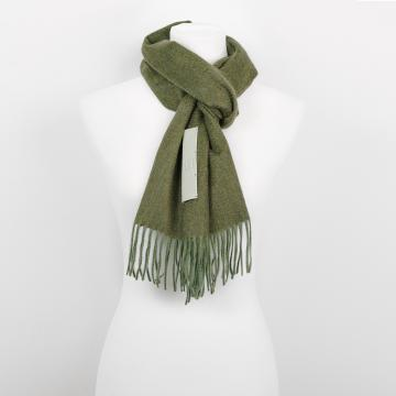 Green Cashmere Scarf with Leather Label