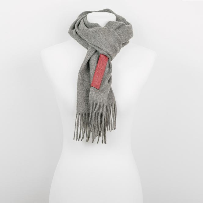 Grey Cashmere Scarf with Leather Label